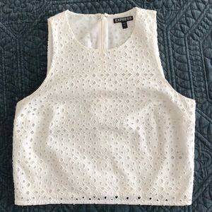 Express white lace crop top